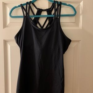 Black Athletic Tank Top with Detailed Back